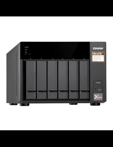 """Сетевой RAID-накопитель QNAP TS-673, 6 отсеков 3,5""""/2,5"""", 2 слота M.2 SSD. AMD RX-421ND 2,1 ГГц (3,4 ГГц), DDR4."""
